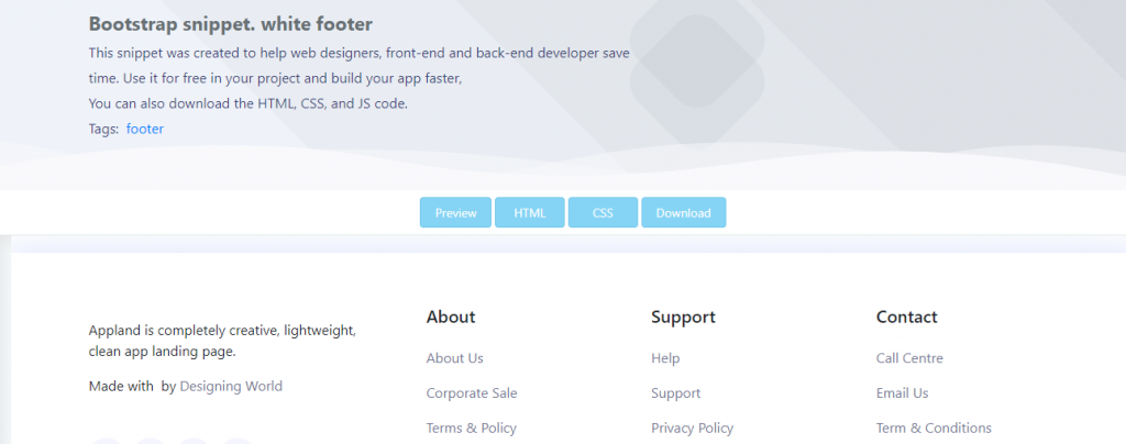 bootstrap footers